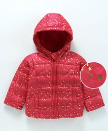 Babyoye Full Sleeves Hooded Jacket Glitter Star - Red