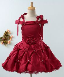 Enfance Short Sleeves Flower Decorated Fit & Flare Dress - Maroon