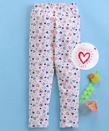 Babyhug Full Length Knitted Leggings Heart Print - Multicolour