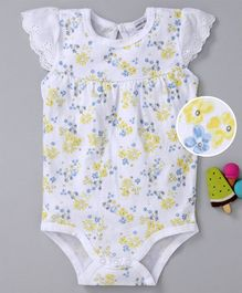 Mother's Choice Flower Print Short Sleeves Onesie - Yellow