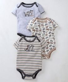 Mother's Choice Short Sleeves Striped Pack Of 3 Onesies - Brown