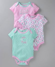 Mother's Choice Heart Print Short Sleeves Pack Of 3 Onesies - Sea Green