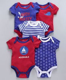 Mother's Choice Anchor Print Short Sleeves Pack Of 5 Onesies - Red & Blue