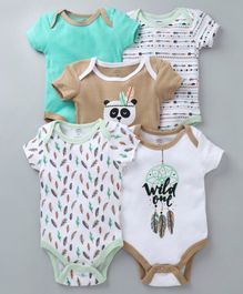 Mother's Choice Feathers Print Short Sleeves Pack Of 5 Onesies - Beige