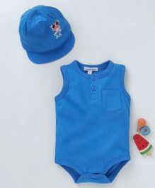 Mother's Choice Back Frog Patch Sleeveless Onesie With Cap - Blue