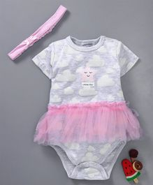 Mother's Choice Star & Clouds Print Short Sleeves Dress Style Onesie With Headband - Pink