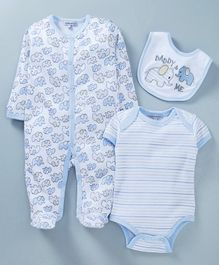 Mother's Choice Elephant Print Full Sleeves Romper With Bib & Onesie - Blue