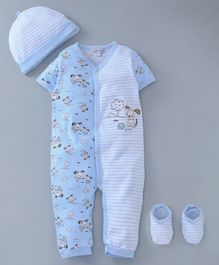 Mother's Choice Dog Print Half Sleeves Romper With Cap & Booties - Blue