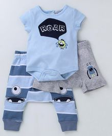 Mother's Choice Roar Print Short Sleeves Onesie With Shorts & Bottom - Blue