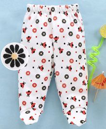 Babyhug Cotton Bootie Leggings Ladybug Print - White Red Black