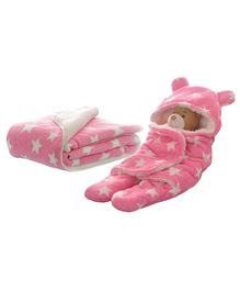 My NewBorn Hooded 2 in 1 Wrapper & Blanket Pack of 2 - Pink