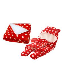 My NewBorn Hooded 2 in 1 Wrapper & Blanket Pack of 2 - Red