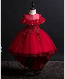 Pre Order - Awabox Flower Lace Applique Half Sleeves Dress - Maroon