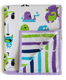 Silverlinen Cotton Reversible Single Blanket Monster Print - White