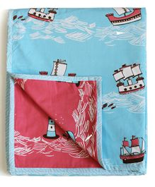 Silverlinen Cotton Reversible Single Dohar Ship Print - Blue & Red