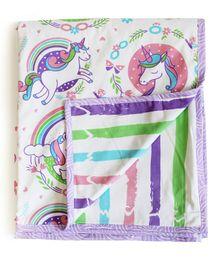 Silverlinen Cotton Reversible Single Blanket Unicorn Print - Multicolour