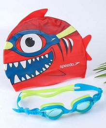 Speedo Sea Squad Swimming Goggle & Cap Combo Pack - Red Blue