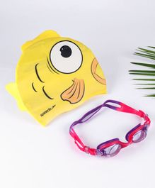 Speedo Sea Squad Cap And Goggle Set - Yellow and PInk