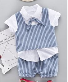 d09b042176ff2 Pre Order - Awabox Short Sleeves Tee With Striped Waistcoat   Shorts Set -  Blue