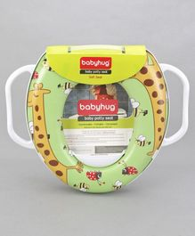 Babyhug Baby Potty Seat With Handle Giraffe Print - Green