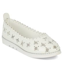 Kittens Shoes Eyelet Detailed Ballerinas - White