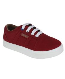 Beanz Solid Lace Up Shoes - Maroon