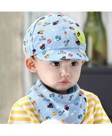 Ziory Cartoon Print Cap With Bib - Blue
