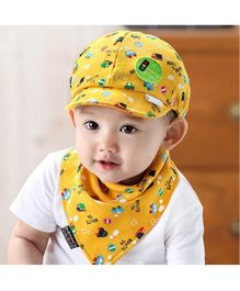 Ziory Cartoon Printed Snapback Cap & Bib - Yellow