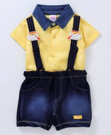 Whaou Half Sleeves Polo Neck Tee With Car Patch Suspender Shorts - Yellow & Blue