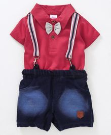 Whaou Half Sleeves Polo Neck Tee With Suspender Shorts & Bow - Red