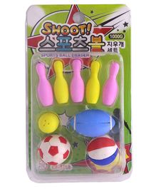 Funcart Eraser Sports Ball Multicolor - Pack Of 9