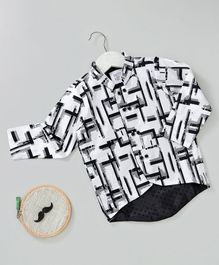 Knotty Kids Full Sleeves Abstract Print Shirt - White