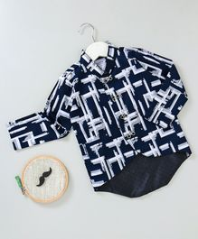 Knotty Kids Full Sleeves Abstract Print Shirt - Navy Blue