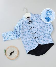 Knotty Kids Full Sleeves Flower Print Chinese Collar Neck Shirt - Blue