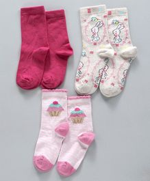 be3aad4cd Mustang Quarter Length Socks Pack of 3 - White Pink