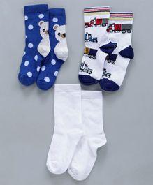 c14dc38d67d Mustang Quarter Length Socks Bear Design Pack of 3 - White Blue