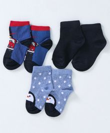dce0a7928 Mustang Ankle Length Socks Snowman   Car Design Pack of 3 - Blue White Black
