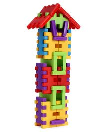Napco Interlocking Building Blocks Set Multicolour - 54 Pieces