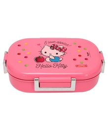 Jaypee Insulated Lunch Box With Small Container & Spoon Hello Kitty Print - Pink
