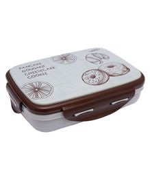 Jaypee Insulated Lunch Box With Small Container & Spoon Pancake Print - Grey
