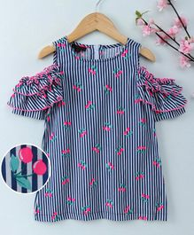 Pspeaches Cherry Print Cold Shoulder Half Sleeves Dress - Navy Blue & White