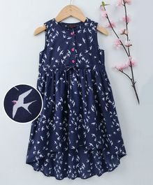 Pspeaches Bird Print High Low Sleeveless Dress - Navy Blue