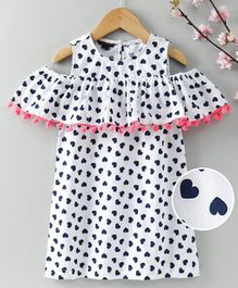 Pspeaches Half Sleeves Heart Print Cold Shoulder Dress - White