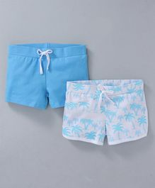 Whaou Set Of Two Solid & Tropical Shorts - Blue & White