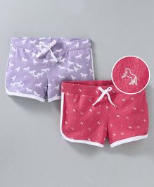 Whaou Set Of 2 Printed Shorts - Pink & Purple