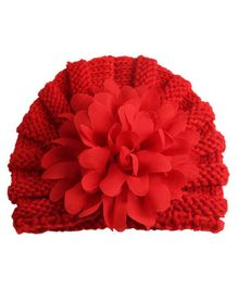 Babymoon Baby Knitted Cap Floral Applique - Red