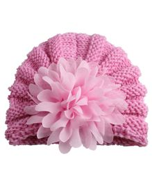 Babymoon Baby Knitted Cap Floral Applique - Pink