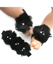 Babymoon Baby Hairband and Barefoot Sandal Set of 2 - Black