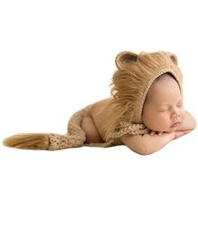 Babymoon Lion Cap & Tail Costume Photo Prop - Brown