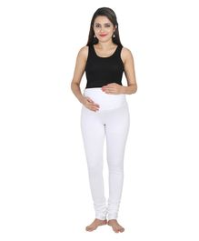 Lulamom Maternity Active Full Length Legging With Belly Band Support - White